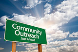 Community Outreach Green Road Sign Over Clouds