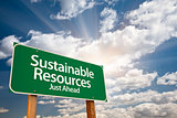 Sustainable Resources Green Road Sign Over Clouds