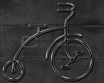 Abstract metal bicycle on a worn textured black background