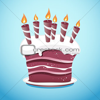 Cake With Candles On Serving Plate