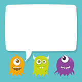 Cute Happy Flying Aliens, Blank Speech Bubble