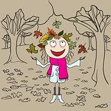 Girl in park throws autumn leaves. Autumn landscape