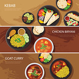 halal food web banner flat design , kebab, chicken biryani, goat