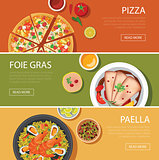 popular food web banner flat design, pizza, foie gras, paella