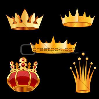 Crown set. Vector