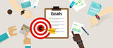 target goals vector icon success business strategy concept team work