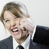 Punched businesswoman
