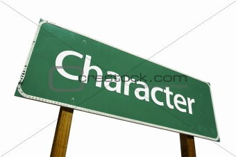Character road sign isolated.