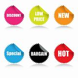 Glossy sale tags with various sales text