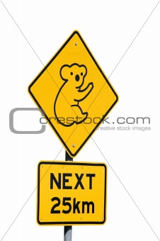 Koalas Next 25km - Australian Sign
