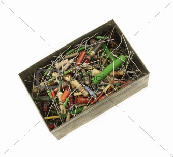 Box full of electronic resistors