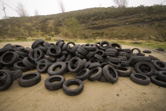 old tyres dumped on the moor
