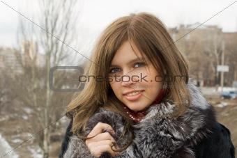 Portrait of the beautiful girl outdoor 1
