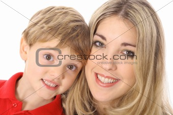 aunt and nephew headshot isolated on white