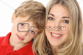 adorable child with beautiful woman isolated on white