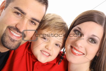 beautiful family portrait angle isolated on white