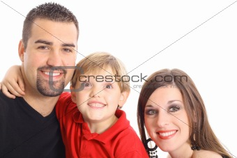 little boy making funny face for family portrait isolated on white
