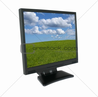 lcd screen with gorgeous landscape