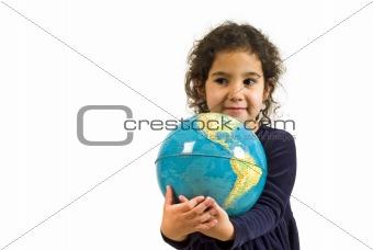 littel girl holding the globe