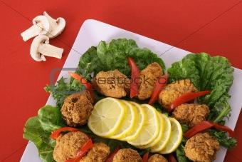 shot of southern fried appetizer platter