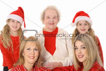 Four generations happy holidays isolated on white