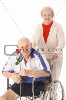 shot of a handicap senior with wife