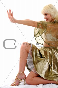 beautiful woman in golden dress