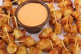 shot of bacon wrapped appetizers and dip