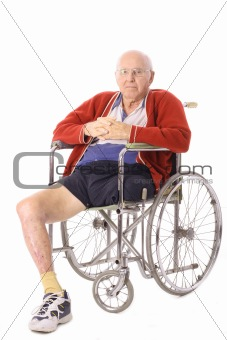 shot of an elderly man with leg amputation vertical