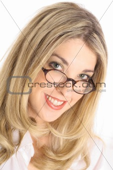shot of a pretty blonde with glasses headshot angle