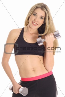 exercise blonde isolated on white
