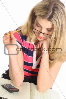 shot of a woman thinking about home work