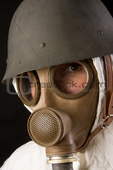 woman in gas mask and helmet