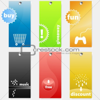 Set of modern colorful themed shopping tags