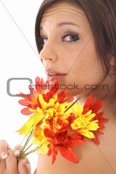 shot of a pretty girl with flowers