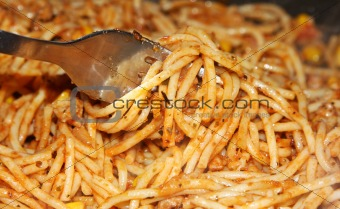 spaghetti wrapped up on fork