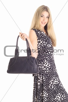 shot of a fashion model with purse