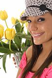 shot of a beauty girl with tulips