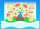 Easter bunnies with a basket full of flowers
