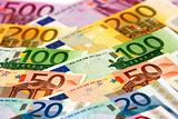 Arranged euro banknotes