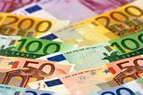 Arranged euro banknotes