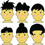 6 Cute Asian Kids Vector Illustration