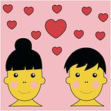 Boy and Girl In Love Illustration Vector