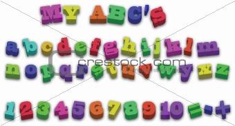 123 ABD Alphabet Fridge Magnets Vector Illustration