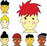 Set of cute multicultural boy and girl faces illustration vector