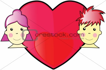 Valentine Boy and Girl WIth Love Heart In the Middle