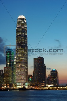 Sunset scene of Hong Kong