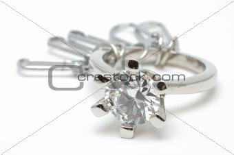 Crystal ring keychain