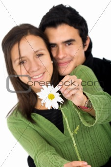 couple with a flower