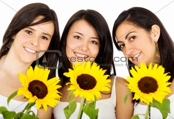 friends with flowers